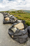 Rocks airlifted for repairing footpath on Snowdon. Royalty Free Stock Photography