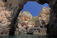 Rocks at the Algarve coast Royalty Free Stock Photography