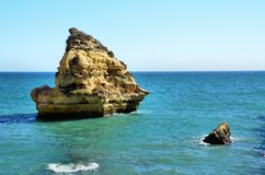 Rocks on the Algarve coast Royalty Free Stock Photo