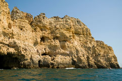 Rocks in Algarve, Portugal. Rock formations. Royalty Free Stock Photo