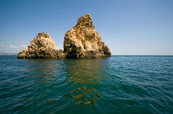 Rocks in Algarve, Portugal. Rock formations. Stock Images