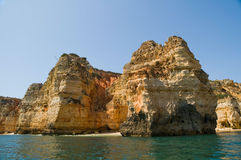 Rocks in Algarve, Portugal. Rock formations. Royalty Free Stock Photography