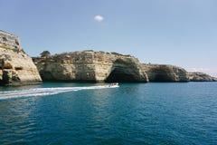 Rocks Algarve region in Portugal Royalty Free Stock Photo
