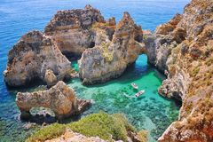 Rocks in Algrave, Portugal Stock Image