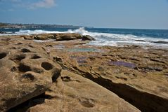 Rocks along the East Coast of Australia. Rock formations along the East Coast of Australia on the Coogee to Bondi Beach walk stock image