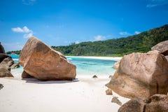 Rocks at Anse Coco. Rock formations at Anse Coco in La Digue, Seychelles Royalty Free Stock Image