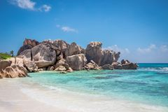 Rocks at Anse Coco. Rock formations at Anse Coco in La Digue, Seychelles Stock Photos