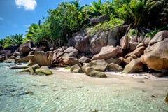Rocks at Anse Coco. Rocks in Anse Coco in La Digue, Seychelles Stock Photos