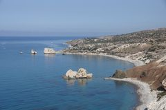 Rocks of Aphrodite in Cyprus. Petra tou Romiou, Rock of Aprhrodite on  Cyprus Stock Photo