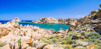 Rocks around azure sea water, costline of Maddalena island, Sardinia, Italy Stock Photo