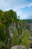 Rocks around Bastei bridge. View of a beautiful Saxony Switzerland in Germany Royalty Free Stock Photos