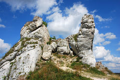 Rocks around the ruins. Of the castle in Olsztyn near Czestochowa Royalty Free Stock Photos
