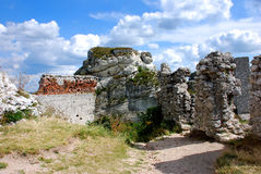 Rocks around the ruins. Of the castle in Olsztyn near Czestochowa Royalty Free Stock Photo