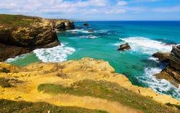 Rocks at  Atlantic coast in Spain Royalty Free Stock Photos