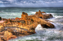 Rocks in Atlantic Ocean near Biarritz Royalty Free Stock Images