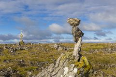 Rocks Balanced on top of Beacon Hill, Cumbria Royalty Free Stock Photos