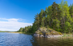 Rocks on the bank of Lake Ladoga. Stock Image