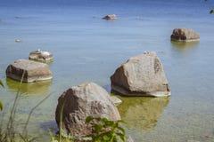 The rocks in the Bay. TALLINN, ESTONIA - YUNI 15, 2015: The rocks in the Bay in Museum Estonian open air, Vabaohumuuseumi kivikulv, Rocca al Mare, Tallinn Royalty Free Stock Photos
