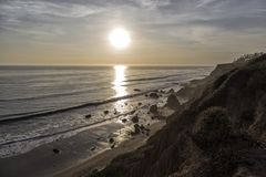 The Rocks in the Beach. A Beautiful sunset in El Matador Beach, California Stock Photo
