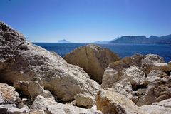 Rocks at the beach of Calpe. Spain Royalty Free Stock Photos