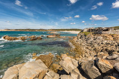 Rocks and beach on the coast of Sardinia near Rena Majore Stock Photography