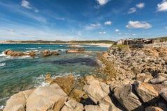 Rocks and beach on the coast of Sardinia near Rena Majore Stock Photography