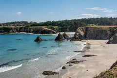 The rocks on the beach in Fort Bragg. A view of a beach along the coast of Fort Bragg, California Royalty Free Stock Photos