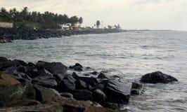 Rocks on the beach. Landscape at tharangambadi, tamilnadu, india Stock Photo