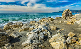Rocks on Beach at Point Dume State Beach. Dramatic rocks on the beach of Point Dume State Beach in Malibu, California Stock Photography