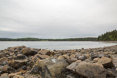 The rocks and beach at Pretty Marsh on Mount Desert in Maine Stock Images