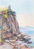 Rocks on beach. Rock breakage on coast in sunny day royalty free illustration