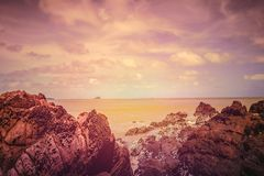 Rocks on the beach. With color effect Royalty Free Stock Photo