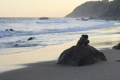 Rocks on the Beach in the Surf Stock Photography