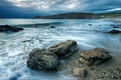 Rocks on the beach. Trepasses bay Brittany Royalty Free Stock Image