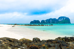 Rocks on the beach in Tropical sea at Bamboo Island Krabi Provin Royalty Free Stock Images