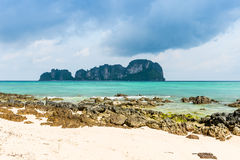 Rocks on the beach in Tropical sea at Bamboo Island Krabi Provin Stock Image