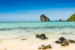 Rocks on the beach in Tropical sea at Talay Waek Krabi Stock Photos
