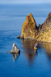 Rocks in Black Sea. Mountains on Phiolent cape. Black Sea, Crimea Stock Images
