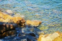 Rocks, blue sea background, landscape Royalty Free Stock Photos