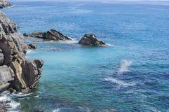 Sea in Genoa Nervi. Rocks and blue sea in Genoa Nervi Stock Photography
