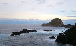 Rocks and island in the sea, madeira, portugal royalty free stock image