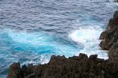 Rocks in the sea, madeira, portugal royalty free stock photos