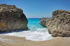 Rocks in the blue waters of Megali Petra Beach, Lefkada, Ionian Islands Stock Photo