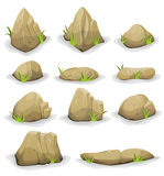 Rocks And Boulders With Grass Leaves Set Royalty Free Stock Photography
