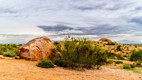 Rocks and Boulders at the red sandstone buttes of Papago Park near Phoenix Arizona Stock Photos