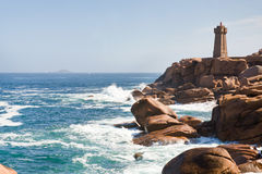 Rocks on Brittany Pink Granite Coast in France Stock Photography