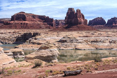 Rocks and Butte on Lake Powell and Colorado River in Glen Canyon National Recreation Area Stock Image