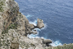 Rocks, Cabo de Formentor in the Balearic Islands, Spain, high cl Royalty Free Stock Photos