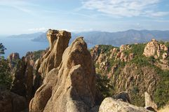Rocks of Calanche de Piana in Corsica Royalty Free Stock Photography