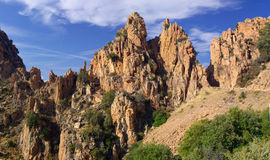 Rocks of Calanche de Piana in Corsica Stock Photography